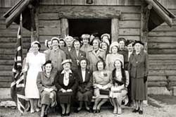 Group Photo of Ladies of the IODE in front of St. Christopher's church, Mesachie Lake, BC
