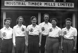 Industrial Timber Mills Camp Six Senior Women's First Aid Team.  This team took second prize in the R.J. Filberg Cup event, Nanaimo, 1943