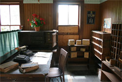 Recreation of a camp post office, located at the BC Forest Discovery Centre