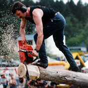 Logger with chainsaw